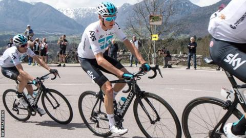 Team Sky's Chris Froome cycling in a line with his team-mates