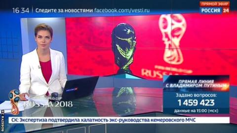 Rossiya 24 presenter fronts World Cup report
