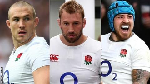 England national rugby union players Mike Brown, Chris Robshaw and Jack Nowell