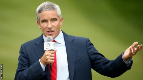 AUGUST 06: PGA TOUR commissioner Jay Monahan speaks during the final round of the World Golf Championships - Bridgestone Invitational at Firestone Country Club South Course on August 6, 2017 in Akron, Ohio