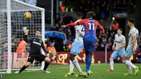 Wilfried Zaha scores