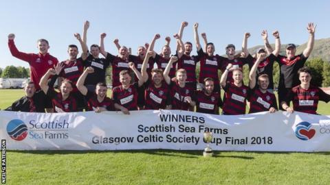 Oban Camanachd celebrate winning the Celtic Society Cup