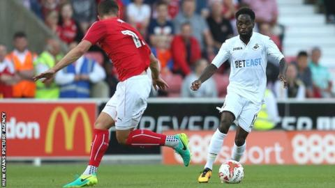 Nathan Dyer in action for Swansea against Swindon in a pre-season friendly