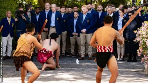 Great Britain side receive a traditional Maori welcome