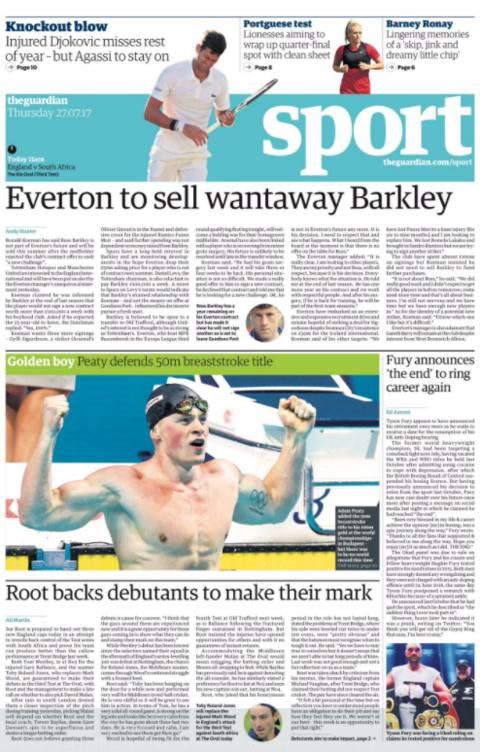 The Guardian sport section on Thursday