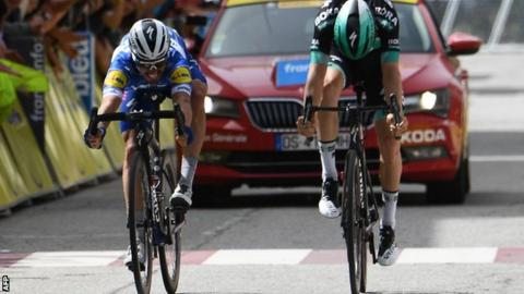 Julian Alaphilippe (left) celebrates his stage six win