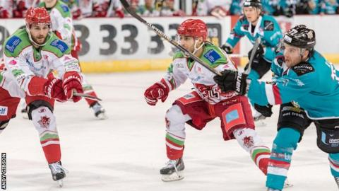 Michael Forney of Belfast Giants in action against the Cardiff Devils