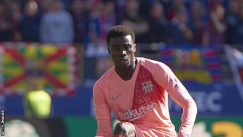 a7448ae75 20-year-old Moussa Wague of Senegal made his first team debut for Barcelona  on Saturday