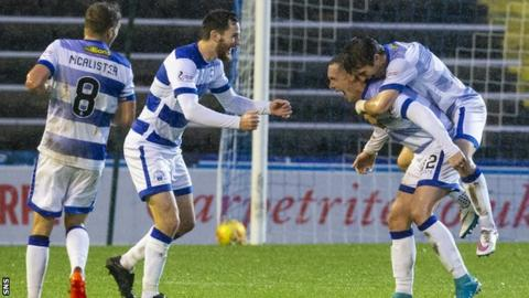 Morton's Michael Tidser celebrates his goal