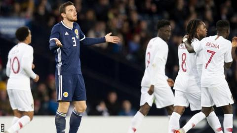 Andy Robertson unhappy as Scotland lose to Portugal