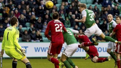 Jason Cummings headed the Hibs equaliser on 74 minutes