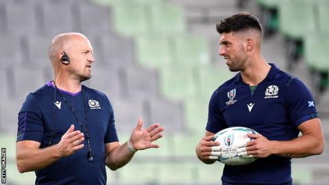 Scotland head coach Gregor Townsend in conversation with fly-half Adam Hastings