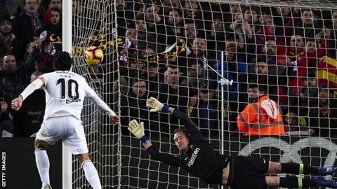 Daniel Parejo scores for Valencia past goalkeeper Marc-Andre Ter Stegen