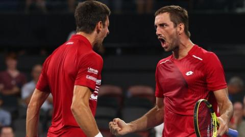 Novak Djokovic and Viktor Troicki celebrate ATP Cup win