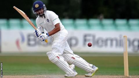 India A batsman Prithvi Shaw plays a shot off his legs against England Lions