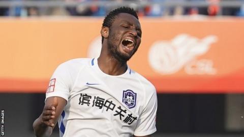 Nigeria's John Mikel Obi playing for Chinese side Tianjin Teda