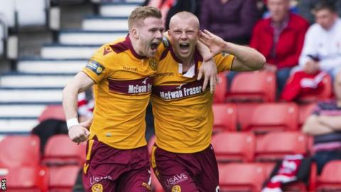 Chris Cadden and Curtis Main celebrate the latter's goal for Motherwell against Aberdeen in the Scottish Cup semi-final