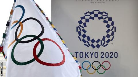 The Olympic rings and Tokyo 2020 sign