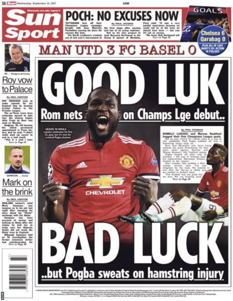 The Sun's back page leads with Romelu Lukaku's Champions League debut