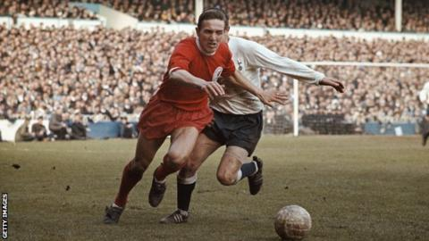 Peter Thompson in action for Liverpool against Tottenham circa 1968