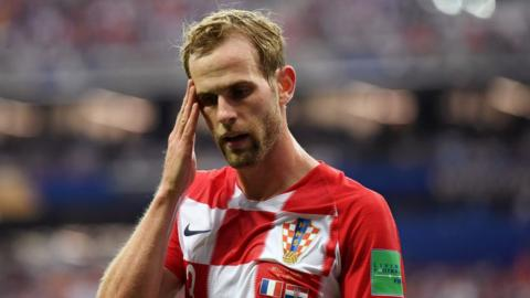 Ivan Strinic playing for Croatia in the World Cup final 2018