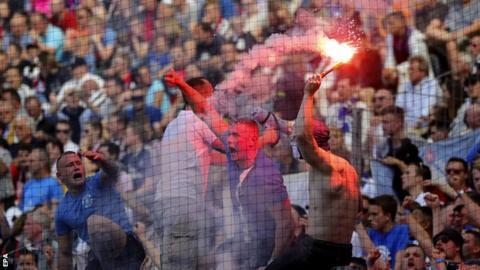 Hamburg fans at Eintracht Frankfurt