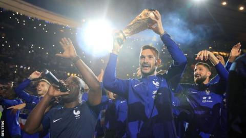 France parade their World Cup trophy at the Stade de France