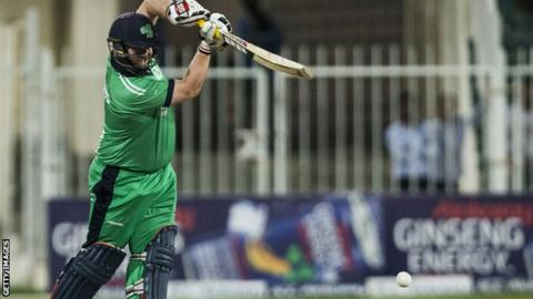 Paul Stirling plays a shot on his way to a superb 101 against Afghanistan in the final ODI on Sunday