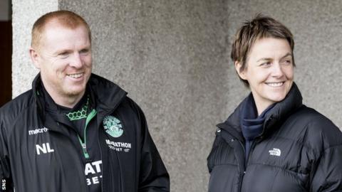 Hibs head coach Neil Lennon and the club's chief executive Leeann Dempster