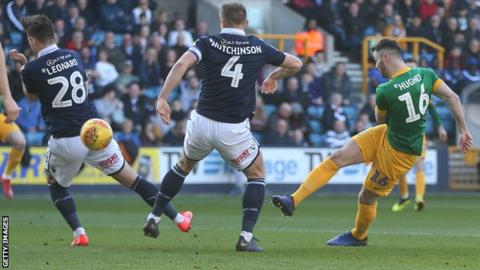 Andrew Hughes scores Preston's first goal against Milwall