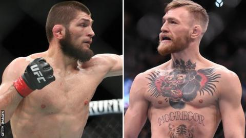 Khabib Nurmagomedov (left) is the lightweight champion after Conor McGregor (right) was stripped of the title in April for being inactive