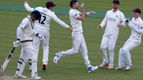 James Anderson celebrates a wicket for Lancashire