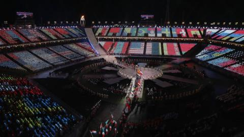 A general view inside the stadium as flagbearers walk through during the closing ceremony of the PyeongChang 2018 Paralympic Games at the PyeongChang Olympic Stadium on March 18, 2018 in Pyeongchang-gun, South Korea.