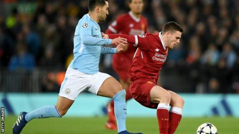 Liverpool defender Andrew Robertson (right)
