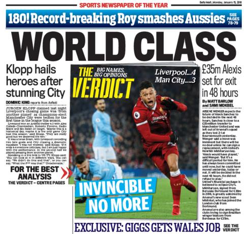 The Daily Mail back page on Monday