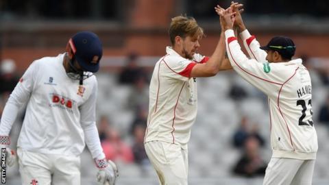 Lancashire celebrate a wicket