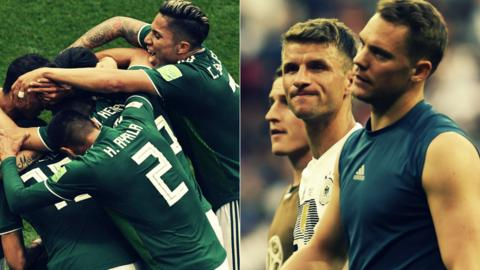 Mexico celebrate and Germany players look glum