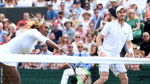 Serena Williams playing alongside Andy Murray