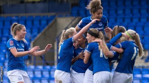 Everton Women celebrate a goal