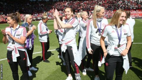 Manchester United Women parade the Championship trophy at Old Trafford