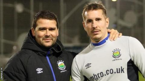 Linfield manager David Healy with new signing Marek Cervenka