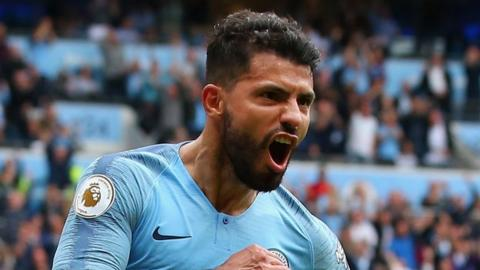 Manchester City's Sergio Aguero celebrates scoring