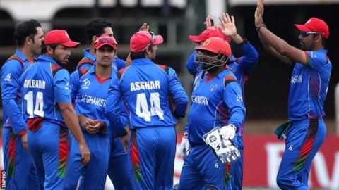 Afghanistan celebrate after dismissing Ireland captain William Porterfield in Harare
