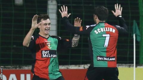 Chris Lavery celebrates one of his two goals with Glentoran team-mate David Scullion
