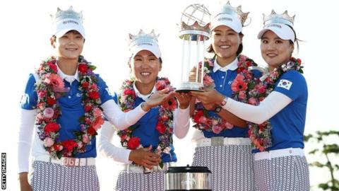 The South Korea team with the International Crown trophy