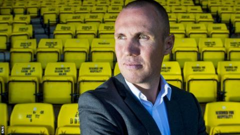 Kenny Miller poses for photos after being unveiled as Livingston's new player-manager