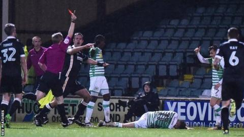 Surrey referee Gavin Ward's second red card of the night at Huish Park was the 66th he has issued in English professional football in 368 games