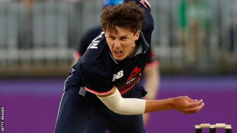 Paul Coughlin bowls for England Lions against Perth Scorchers