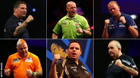 Gary Anderson, Michael van Gerwen, Raymond van Barneveld, Peter Wright, Adrian Lewis, Phil Taylor