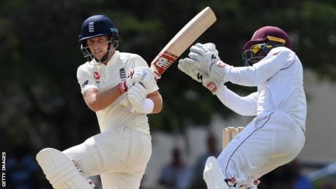 England captain Joe Root plays a shot during a warm-up game against a Cricket West Indies President's XI